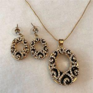 Jewelry - Vintage Rhinestone Pendant, Necklace & Earrings